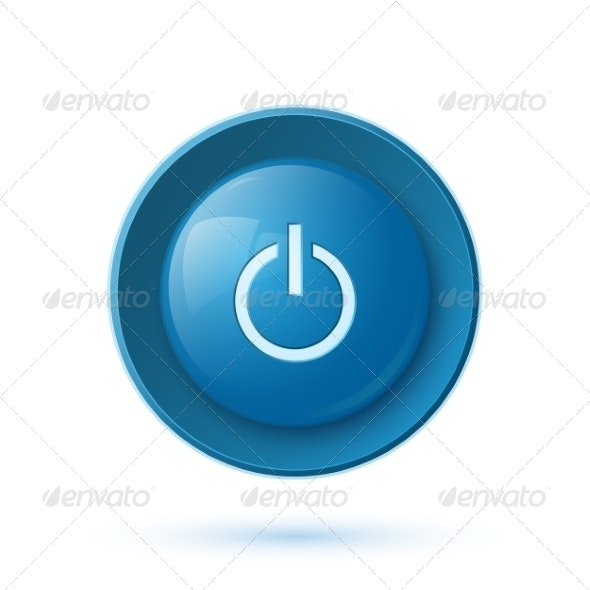 Blue Glossy Power Button Icon - Web Elements Vectors