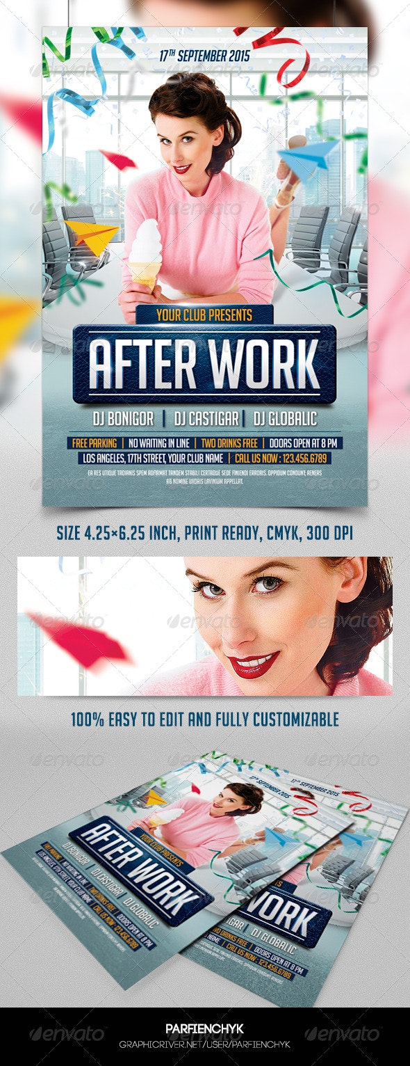 After Work Party Flyer Template - Clubs & Parties Events