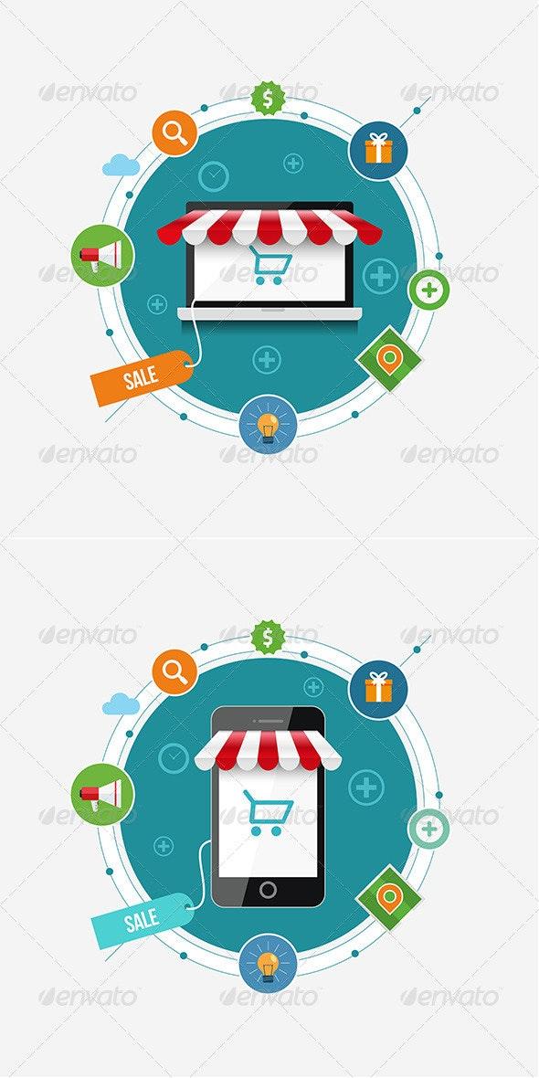 Mobile Shopping - Conceptual Vectors