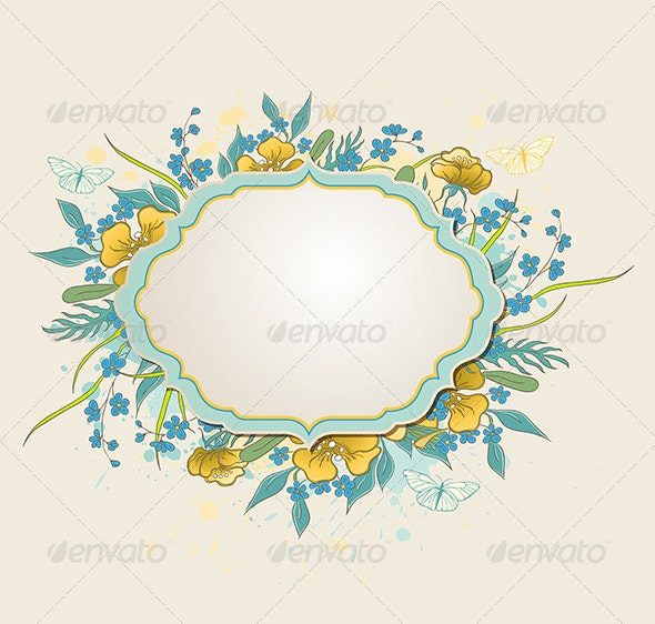 Label with Yellow Flowers and Butterflies - Backgrounds Decorative