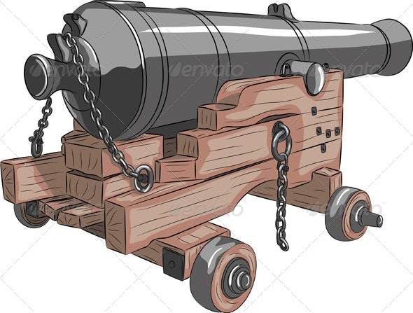 Vector Old Ship Gun - Man-made Objects Objects