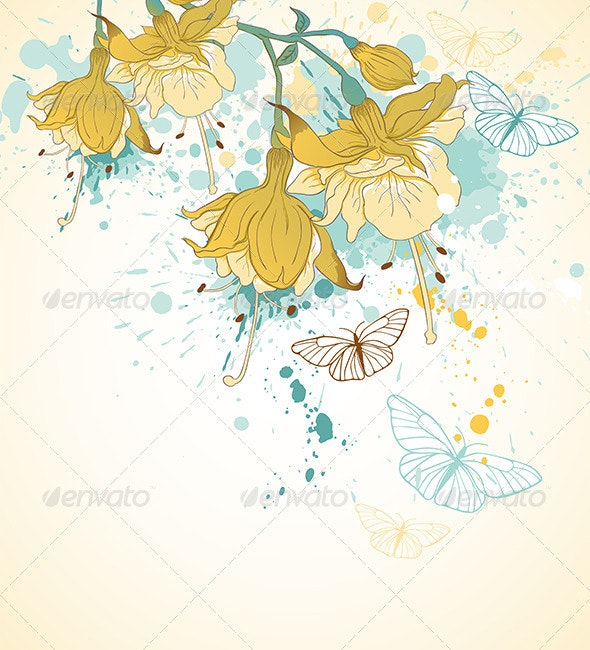 Yellow Flowers and Butterflies - Flowers & Plants Nature