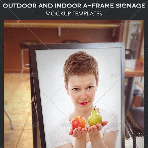 Outdoor Indoor AFrame Signage Mockup Template
