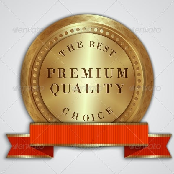 Vector Round Golden Badge Label with Red Ribbon