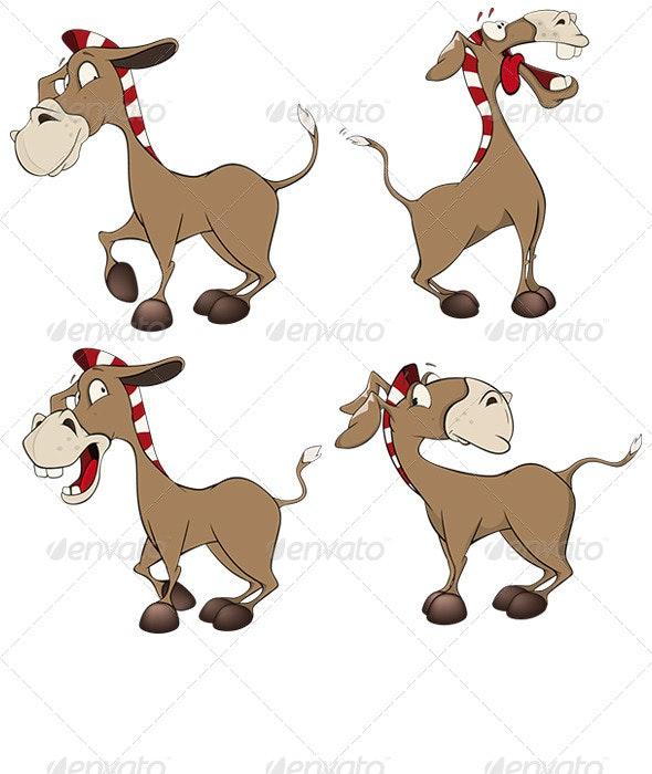 Set of Donkeys Cartoon - Animals Characters