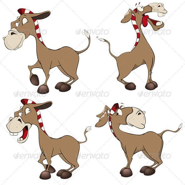 Set of Donkeys Cartoon