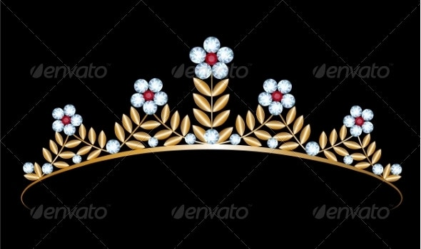 Gold Tiara with Diamonds - Man-made Objects Objects