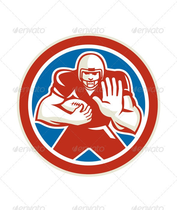 American Football Fend Off, Circle Retro - Sports/Activity Conceptual
