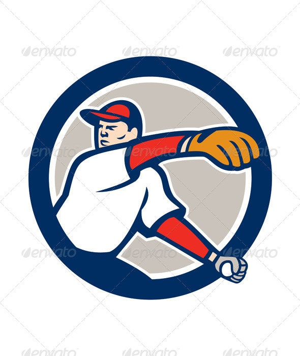 Baseball Pitcher Throw Ball Circle - Sports/Activity Conceptual