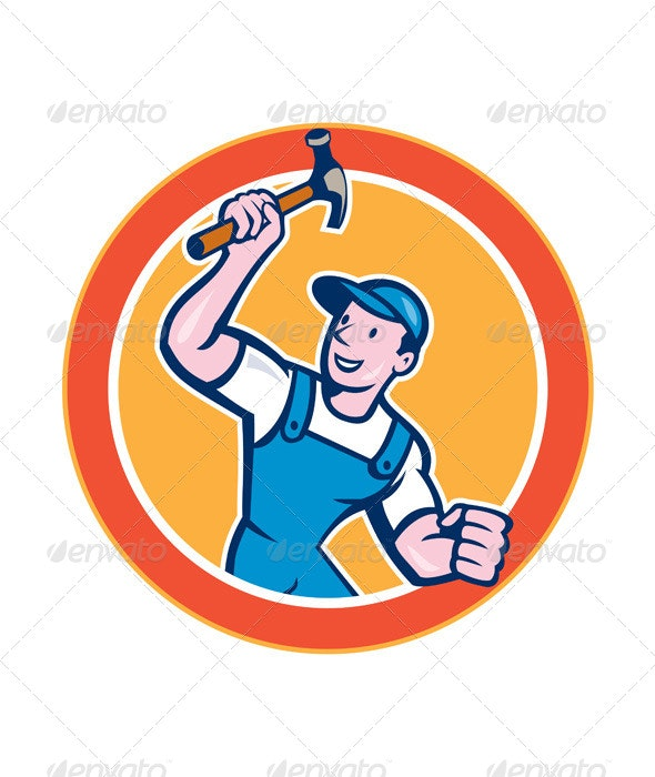 Carpenter with Hammer Circle - People Characters
