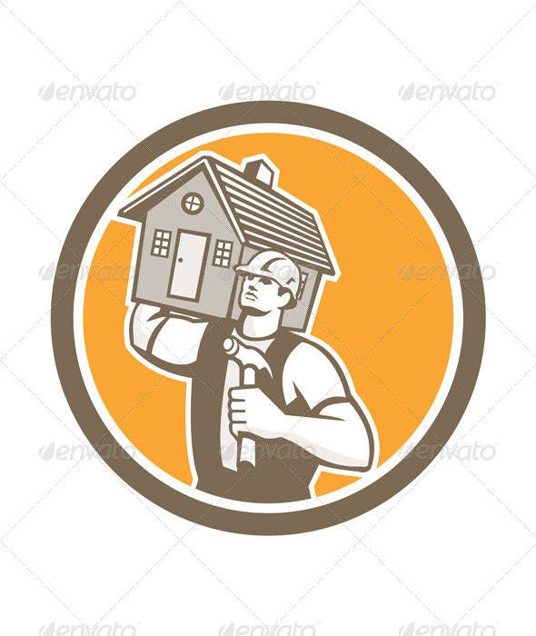 Builder Carrying House & Hammer Retro - People Characters