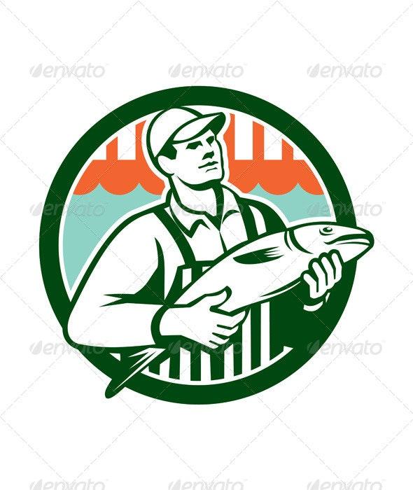 Fishmonger Holding Fish Circle Retro - People Characters