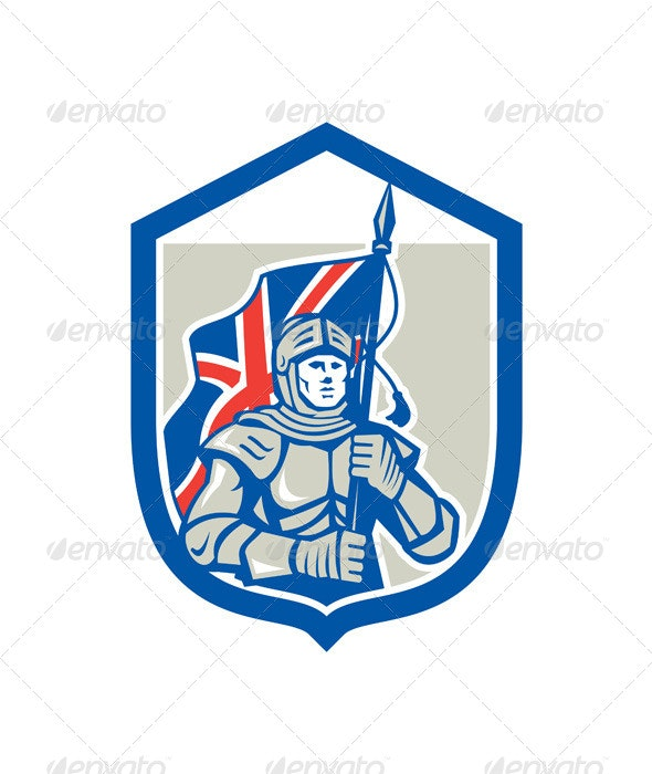 Knight Holding British Flag Shield Retro - People Characters