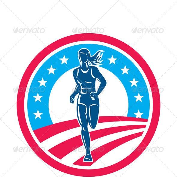 American Female Runner Circle