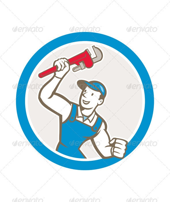 Plumber Holding Monkey Wrench Circle - People Characters