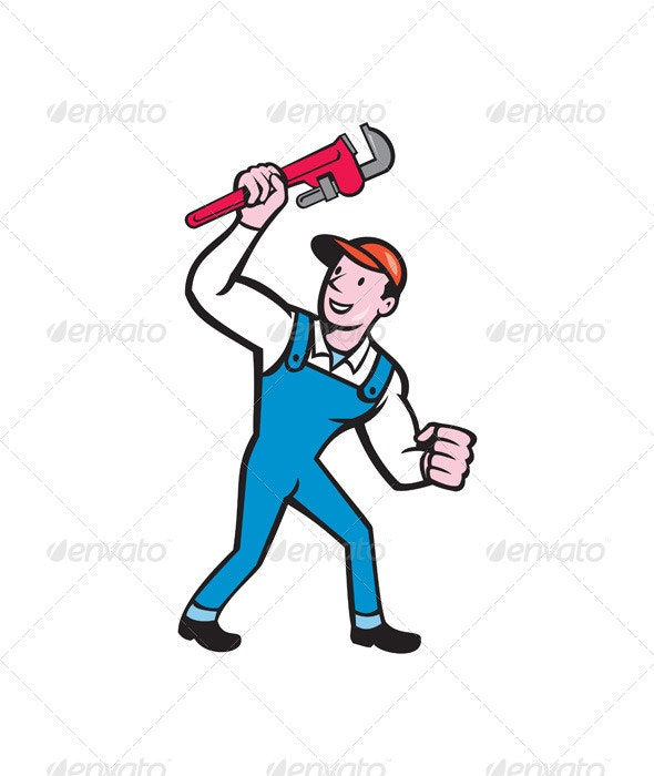 Plumber Holding Monkey Wrench - People Characters