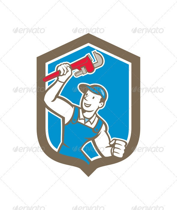 Plumber Holding Monkey Wrench Shield - People Characters