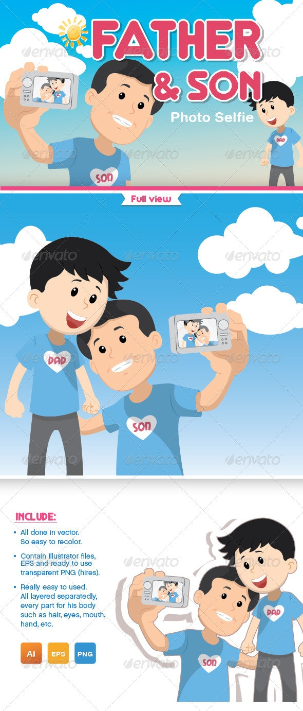 Father and Son Photo Selfie - People Characters