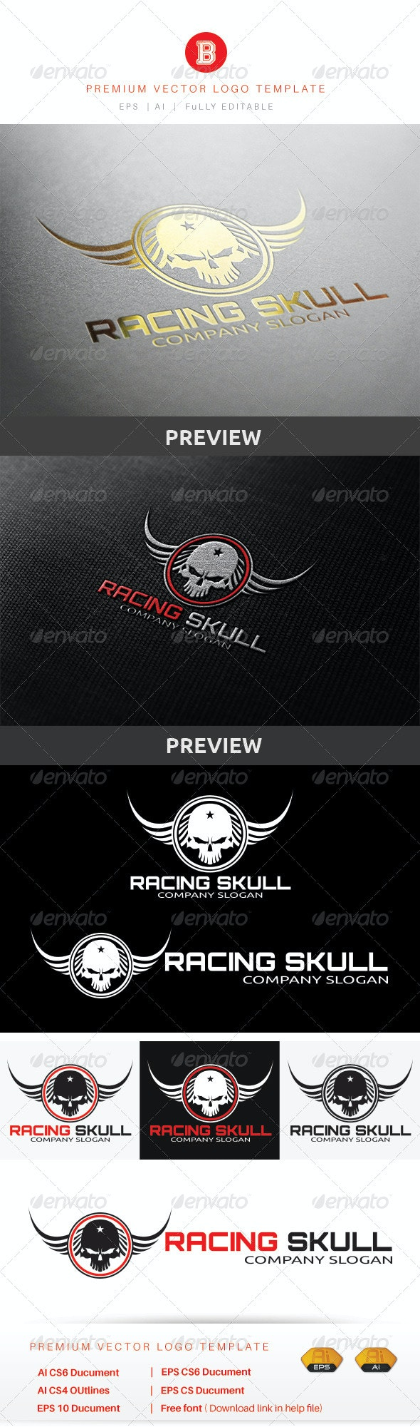 Racing Skull - Crests Logo Templates