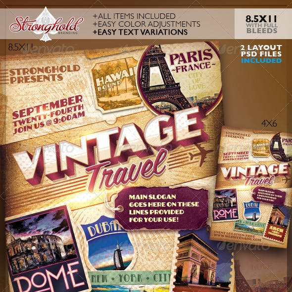 Vintage Travel Decals Poster Template