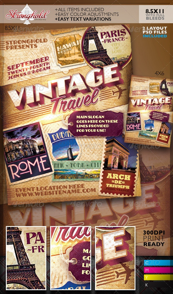 Vintage Travel Decals Poster Template - Clubs & Parties Events