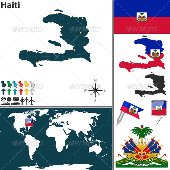Map of Haiti - Travel Conceptual