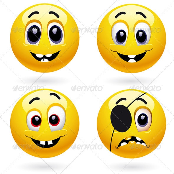 Smiley Icons with Different Emotions - People Characters