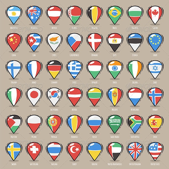 Set of Cartoon Map Pointers With World States Flag - Travel Conceptual