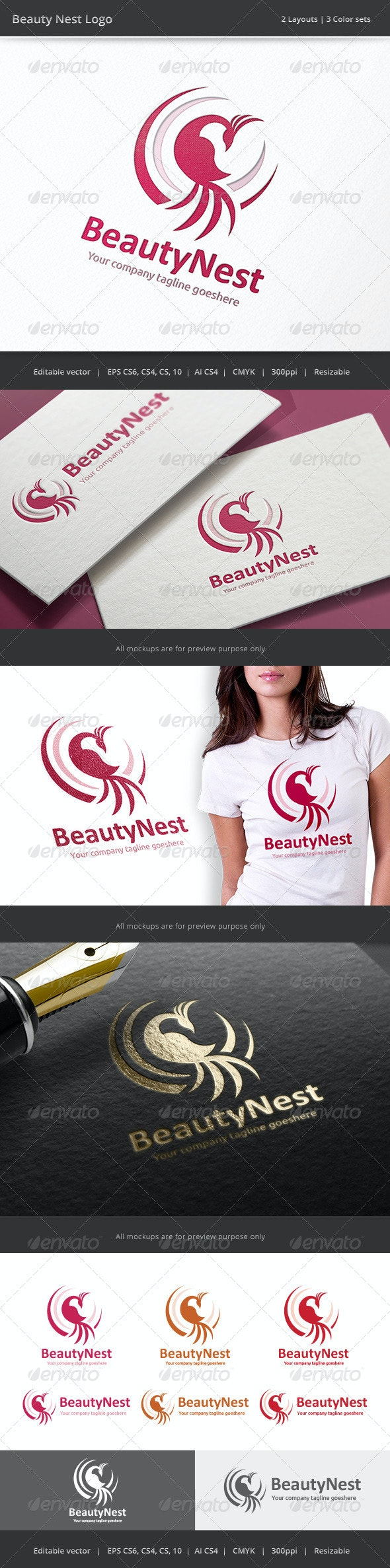 Beauty Nest Logo - Nature Logo Templates