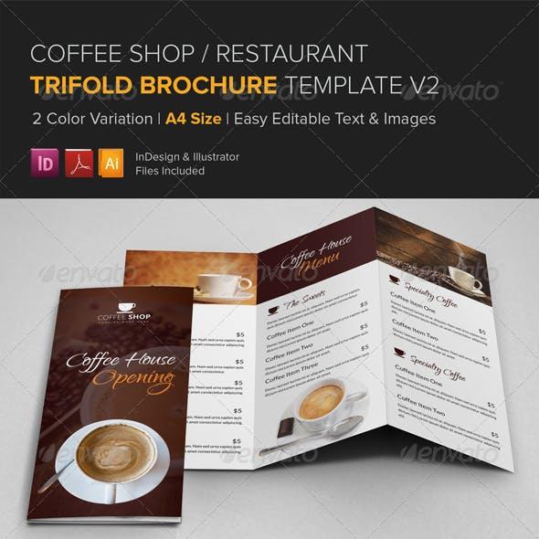 Coffee Shop Restaurant Trifold Brochure v2