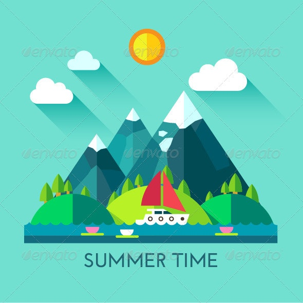Summer Time. Vector Flat Illustration - Landscapes Nature