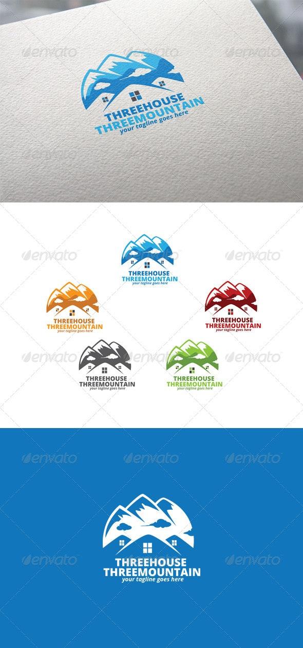 Three House & Three Mountain Logo - Buildings Logo Templates