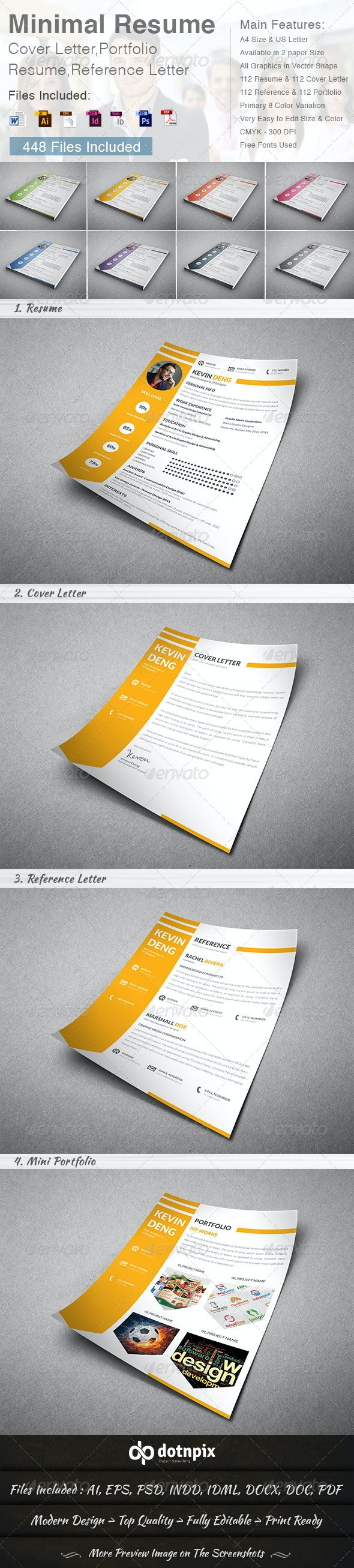 Minimal Resume - Cover Letter (4 in 1) - Resumes Stationery