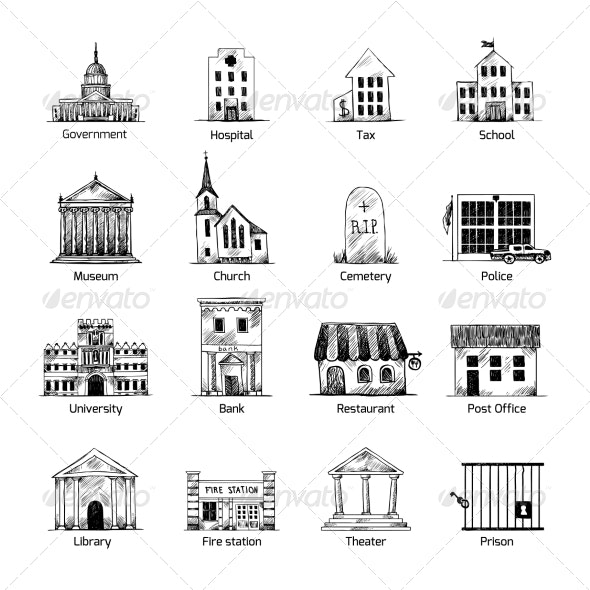 Government Building Icons Set - Buildings Objects
