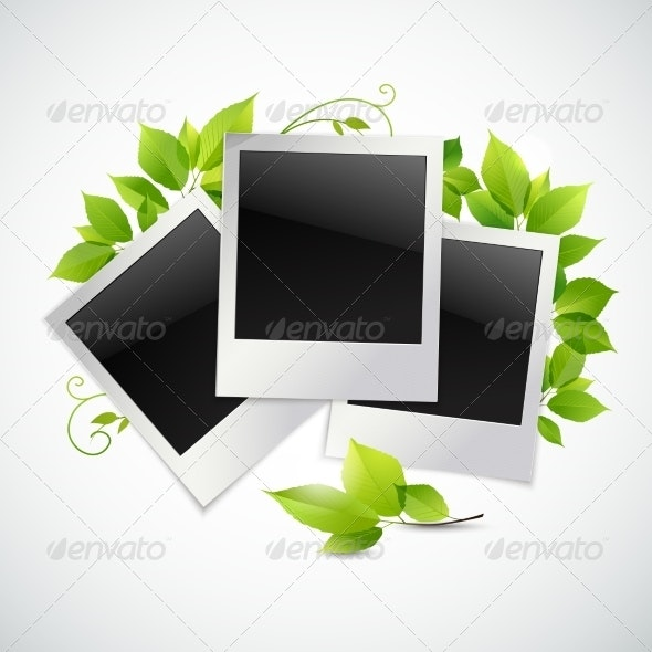 Photo Frames with Green Leaves - Borders Decorative