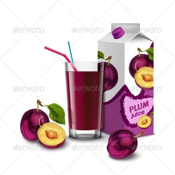 Plum Juice Set - Food Objects