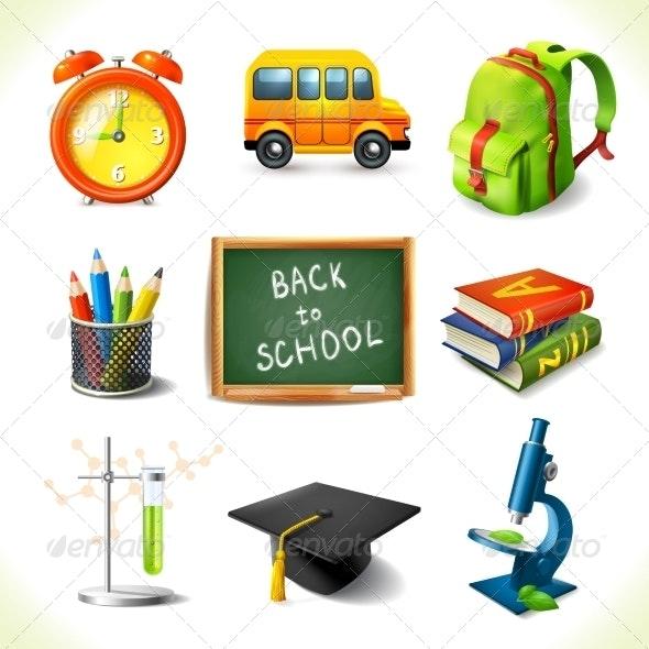 Realistic School Education Icons Set - Miscellaneous Vectors