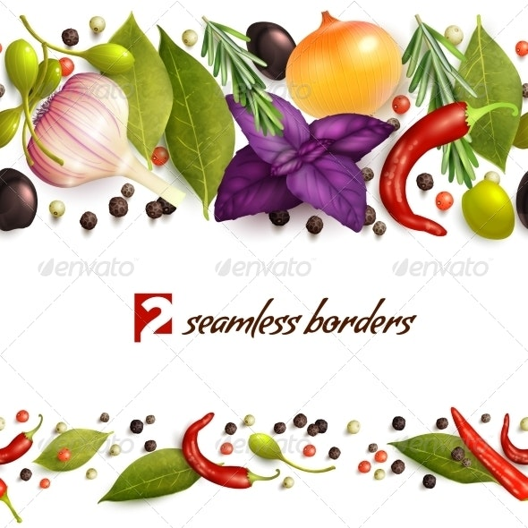 Herbs and Spices Pattern - Borders Decorative