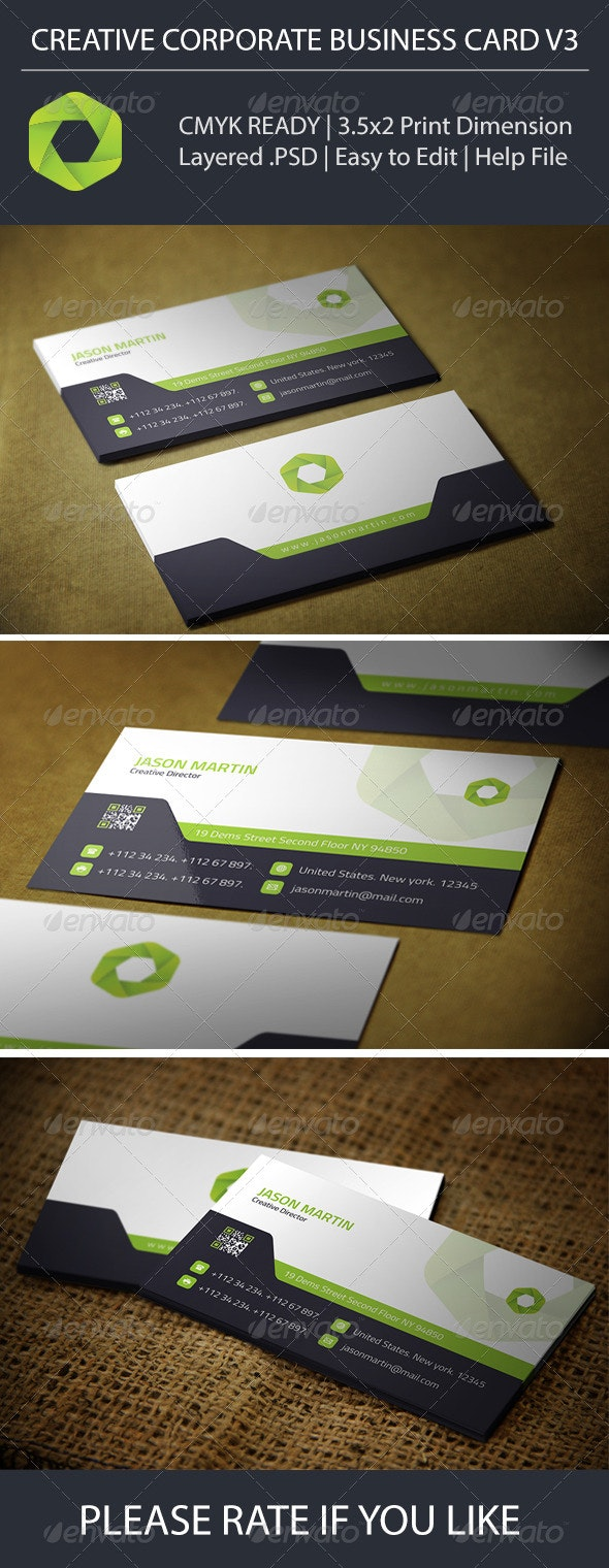 Creative Corporate Business Card V3 - Corporate Business Cards