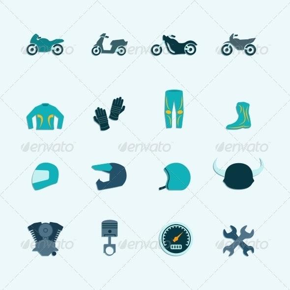 Biker Icon Set - Web Technology