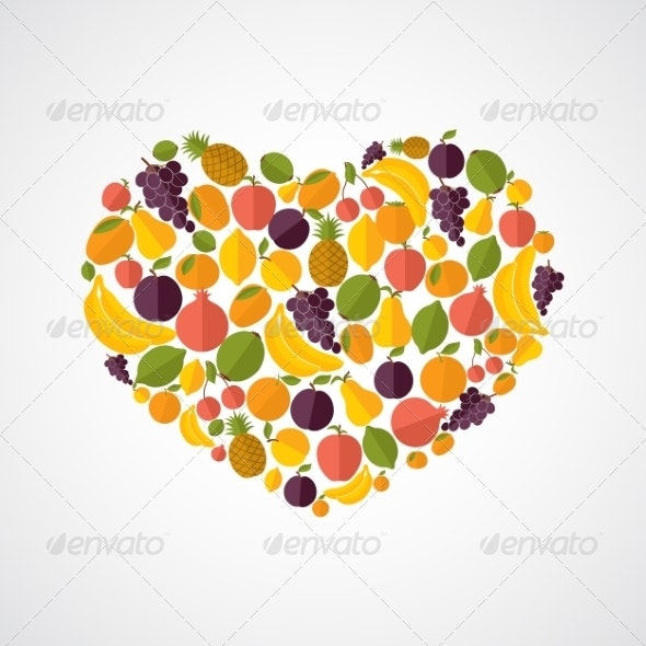 Healthy Food Heart Composition - Food Objects