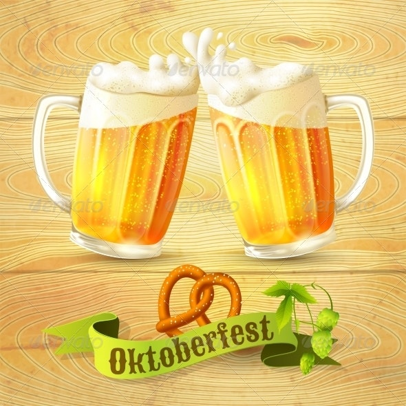 Beer Mugs Octoberfest Poster - Food Objects