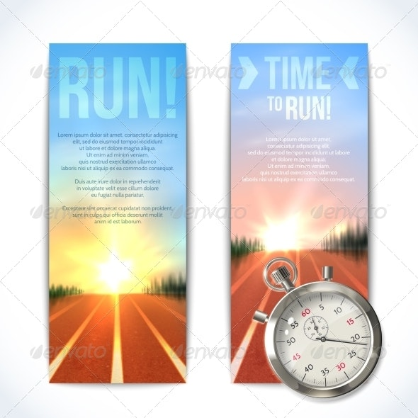 Stopwatch Banners Vertical - Sports/Activity Conceptual
