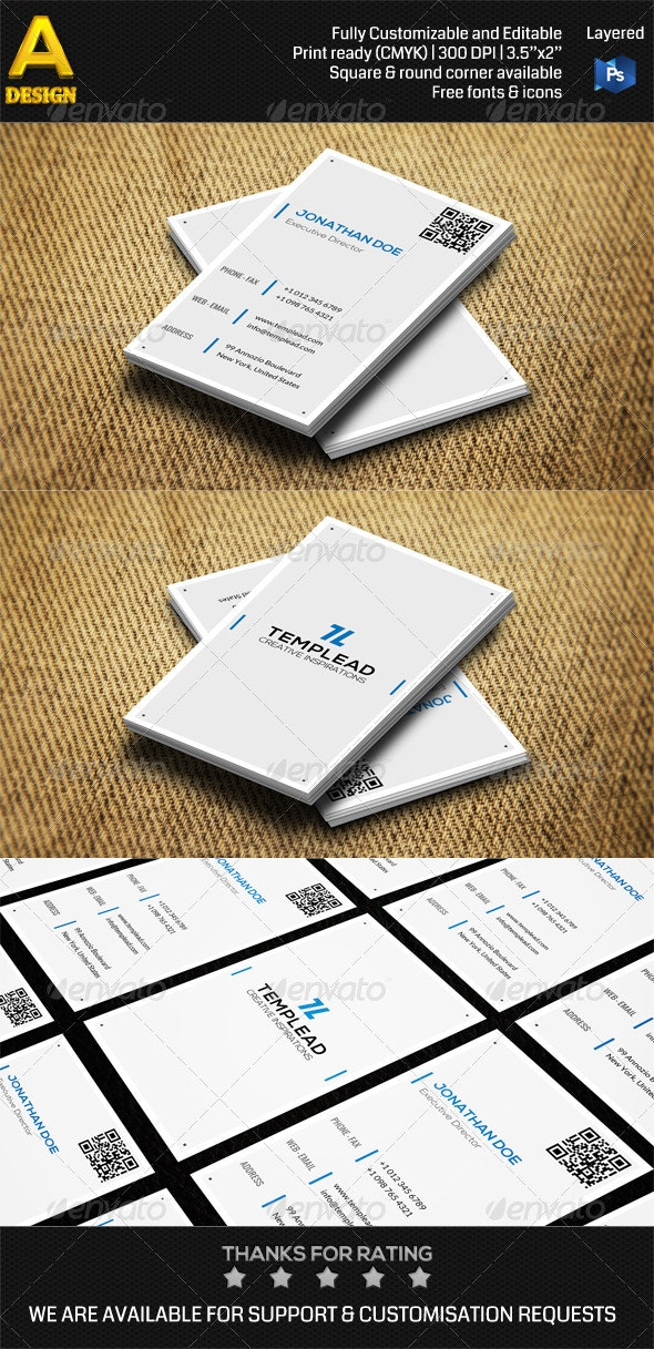 Minimal Corporate Business Card AN0488 - Corporate Business Cards