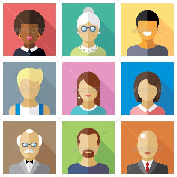Vector Flat Icons Different People Characters