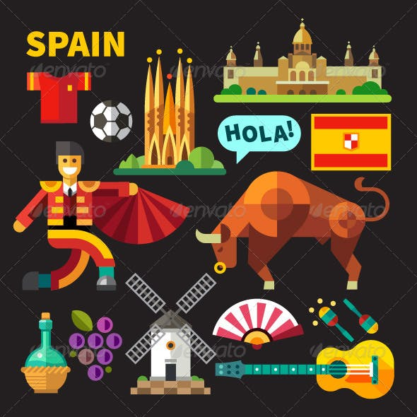 Flat Vector Icons Spain