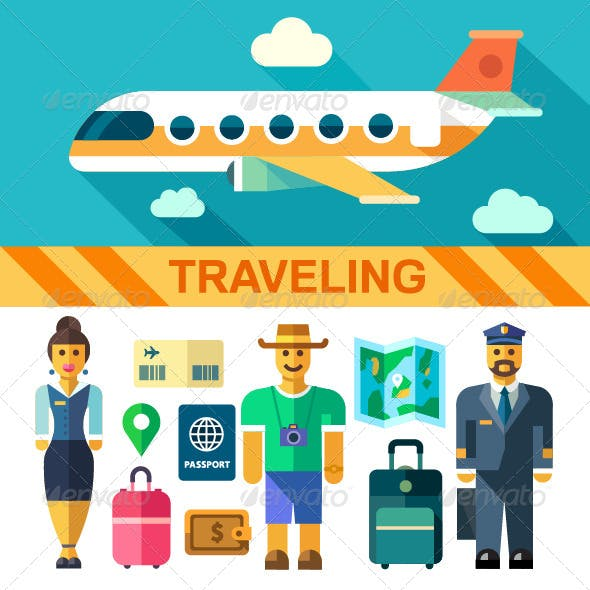 Vector Flat Illustrations Traveling by Plane