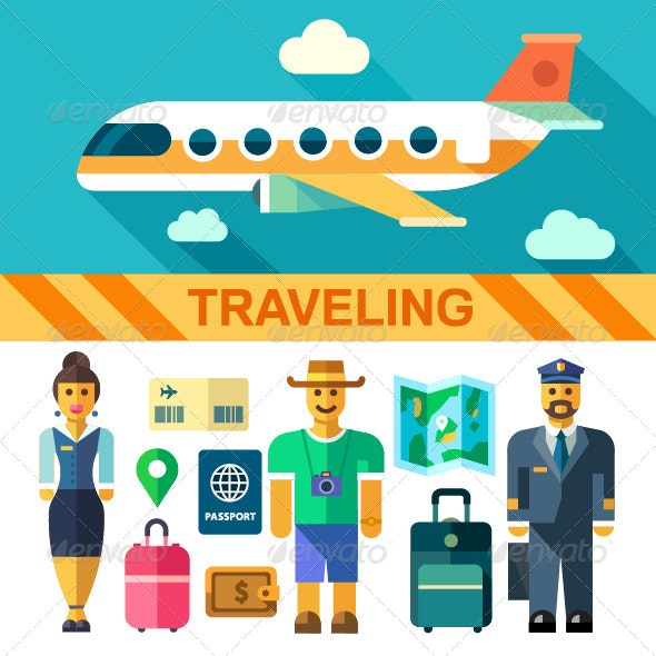 Vector Flat Illustrations Traveling by Plane - Travel Conceptual