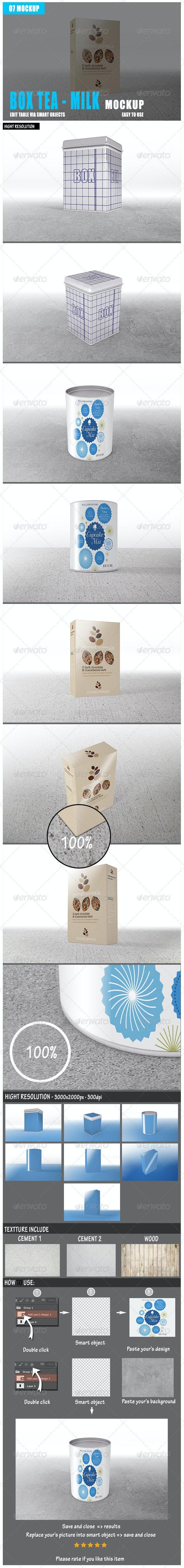 Box Tea Milk Mockup - Food and Drink Packaging