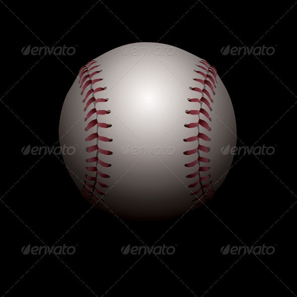 Vector Shadowed Baseball Illustration - Sports/Activity Conceptual
